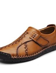 Недорогие -Для мужчин Мокасины и Свитер Удобная обувь Лето Осень Кожа Повседневные Комбинация материалов На плоской подошве Черный Желтый Красный На