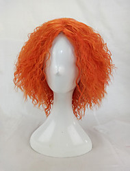 cheap -Afro Kinky Curly Wig Synthetic Hair Woman Medium Length Orange Cosplay Wigs High Temperature Fiber