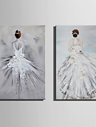 Mini Size E-HOME Oil painting Modern The Back Of A Ballet Dancer Pure Hand Draw Frameless Decorative Painting Set of 2