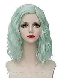 Mint Green Lolita 35cm Short Wavy Halloween Cosplay WigsCap  Heat Resistant