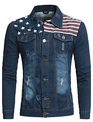 Men's Casual/Daily Club Simple Spring Fall Denim Jacket,Print Shirt Collar Long Sleeve Short Polyester