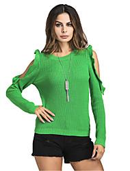 Для женщин На каждый день Простое Очаровательный Обычный Пуловер Однотонный,Круглый вырез Длинный рукав Хлопок Полиэстер Весна Осень