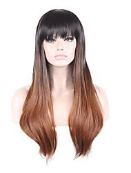 Women Synthetic Wig Capless Medium Straight Black/Dark Auburn Ombre Hair Natural Wig Costume Wigs