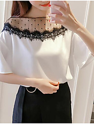 cheap -Women's Daily Casual Blouse,Solid Round Neck Half Sleeves Cotton Polyester