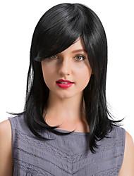 economico -Capelli parrucche dei capelli umani capelli lunghi di capelli del nero della frangia obliqua prevalente