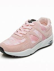 Feminino Tênis Conforto Courino Tecido Primavera Outono Casual Caminhada Cadarço Combinação Salto Baixo Preto Verde Tropa Rosa claro2,5 a