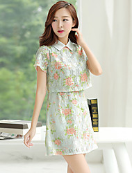 Women's Casual/Daily Shirt Dress,Floral Shirt Collar Above Knee Short Sleeves Cotton Summer Mid Rise Micro-elastic Opaque