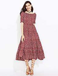 Fodero Vestito Da donna-Per uscire Casual Semplice Moda città Con stampe Rotonda Al ginocchio Manica cortaPelliccia sintetica Cotone