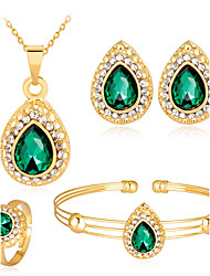 cheap -Women's Jewelry Set - Zircon, Rose Gold Plated Ball Fashion Include Bangles / Stud Earrings / Necklace White / Red / Green For Wedding /