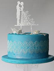 fiesta plástica de los pares clásicos de la torta con la recepción nupcial del bolso del pvc