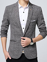 Men's Casual/Daily Work Simple Fall Blazer,Solid Peaked Lapel Long Sleeve Regular Polyester