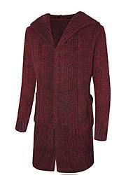 Lungo Cardigan Da uomo-Casual Tinta unita A V Manica lunga Cotone Autunno Inverno Medio spessore Media elasticità