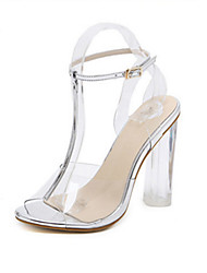 Women's Heels Comfort Novelty Summer Fall PVC Leather Walking Shoes Dress Party & Evening Buckle Chunky Heel Black Sliver 3in-3 3/4in