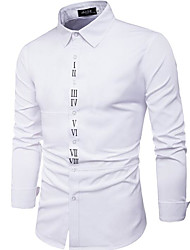 Men's Going out Casual/Daily Work Street chic Fall Shirt,Print Shirt Collar Long Sleeves Cotton