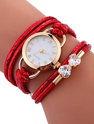 baratos -Mulheres Bracele Relógio Chinês Impermeável / Criativo PU Banda Casual / Fashion / Elegante Branco / Azul / Vermelho / Aço Inoxidável