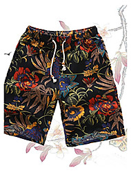 cheap -Men's Mid Rise Micro-elastic Straight Loose Active Shorts Pants,Vintage Active Floral Cotton Summer Fall