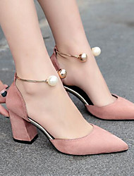 cheap -Women's Heels Basic Pump Summer Real Leather PU Casual Black Beige Blushing Pink Burgundy 4in-4 3/4in