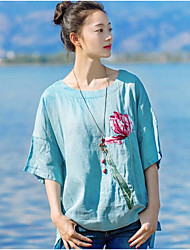 YOUJIN Women's Casual/Daily Vintage Chinoiserie T-shirtSolid Embroidery Round Neck Half Sleeve Cotton Linen