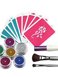 cheap -OPHIR 6 Colors Powder Temporary Glitter Tattoo Kit for Body Art Paint with Tattoo Stencils Makeup Painting