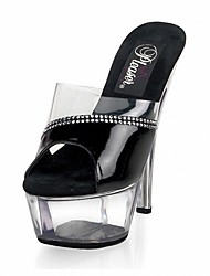 Women's Sandals Formal Shoes Summer PU Dress Party & Evening Rhinestone Stiletto Heel White Black Blushing Pink 5in & over