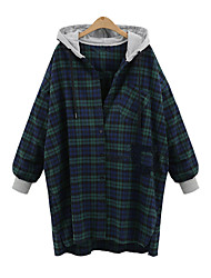 Women's Daily Holiday Going out Casual Street chic Fall Shirt,Plaid Hooded Long Sleeves Polyester