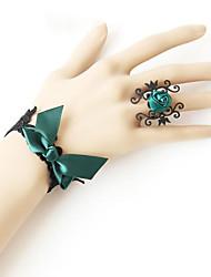Danse du ventre Bijoux Femme Spectacle Polyester Noeud Applique 2 Pièces Anneaux Bracelets
