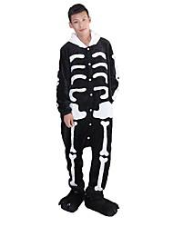 cheap -Adults' Kigurumi Pajamas with Slippers Skeleton / Ghost Onesie Pajamas Costume Flannel Fabric Black / White Cosplay For Animal Sleepwear Cartoon Halloween Festival / Holiday / Christmas