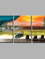 cheap -Hand-Painted Landscape Horizontal Panoramic, Artistic Holiday Office/Business Modern/Contemporary New Year's Christmas Canvas Oil Painting