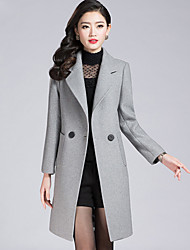 cheap -Women's Work Plus Size Simple Casual Winter Fall Coat,Solid Shirt Collar Long Sleeve Regular Polyester
