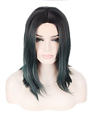 cheap -Short Lenght Dark Green Color Fashinon Trendy Wave Natural Looking Capless Wig Durable High Temperature Heat Resistant Synthetic Hair New Design