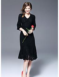 FRMZ  Women's Going out Cute Sheath DressSolid V Neck Midi Long Sleeves Polyester Fall Mid Rise Micro-elastic Medium