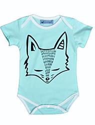Une-Pièce bébé Imprimé animal Imprimé Coton Eté Manches Courtes