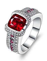 cheap -Women's Band Ring Synthetic Ruby AAA Cubic Zirconia Red Silver Circle Luxury Vintage Wedding Engagement Ceremony Evening Party Costume