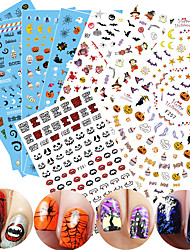 1pcs Happy Halloween Design Nail Art DIY Sticker Colorful Pattern Skull Funny Pumpkin Spider Black Cat Bat 3D Nail Stickers Nail Beauty Decor F251-259