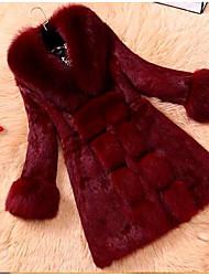 economico -Cappotto di pelliccia Da donna Casual Semplice Autunno Inverno,Tinta unita Colletto alla Peter Pan Pelliccia di volpe Lungo Manica lunga