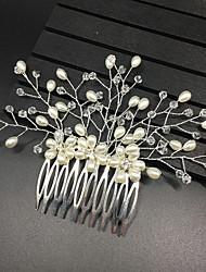 abordables -Pierre Précieuse & Cristal Tulle Imitation de perle Alliage Peignes Casque with Cristal Plume 1 Mariage Occasion spéciale Anniversaire