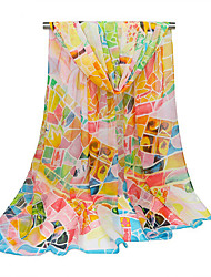 Women's Linen Fashion Cute Floral  Print Fall Winter Scarf  170*90cm