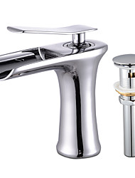 cheap -Modern/Contemporary Deck Mounted Waterfall Ceramic Valve Single Handle One Hole Chrome, Faucet Set