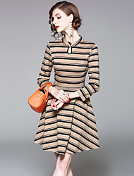 cheap -EWUS Women's Daily Going out Street chic A Line Dress,Striped Stand Knee-length 3/4 Length Sleeves Polyester Summer Fall High Rise Inelastic