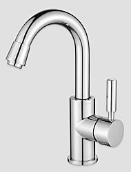 Недорогие -Настольная установка Керамический клапан Хром , Ванная раковина кран