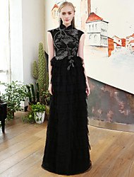 A-Line High Neck Floor Length Lace Satin Tulle Rehearsal Dinner Formal Evening Dress with Beading Lace Bandage by QZ