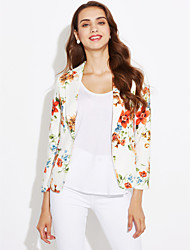 cheap -Women's Going out Casual/Daily Cute Spring Blazer,Floral Shirt Collar Long Sleeve Regular Polyester