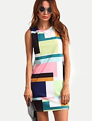 cheap -Women's Daily Weekend Casual Loose Above Knee Dress Print Round Neck Sleeveless Summer