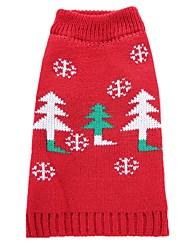 baratos -Cachorro Casacos Súeters Roupas para Cães Festa Casual Fantasias Casamento Ano Novo Natal Floral/Botânico Vermelho Ocasiões Especiais