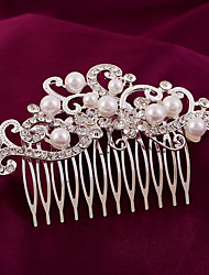 Imitation Pearl Rhinestone Alloy Hair Combs Flowers Headpiece