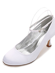 cheap -Women's Shoes Satin Spring / Summer Mary Jane / Comfort Wedding Shoes Kitten Heel / Low Heel / Stiletto Heel Round Toe Ribbon Tie for