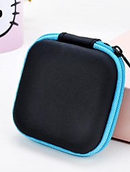 1 pc soild color square headphone zipper storage bag
