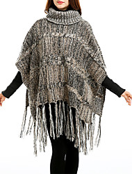 Women Vintage Cloak Cape Bohemian Tassels Fringed Shawl Wrap Scarf Wool Acrylic Rectangle Stripe Spring Fall High Collar Wine/Dark Grey/Khaki