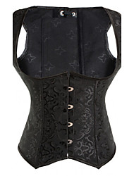 cheap -Women Overbust Corset,Organic Cotton / PU Zip