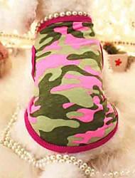 Kat Hund T-shirt Hundetøj Bomuld Sommer Cosplay Bryllup Perler camouflage Rose Grøn Kostume For kæledyr
